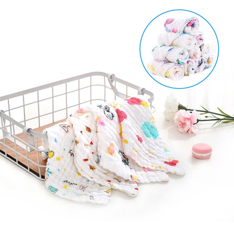 KIKICOOL嬰兒6層毛巾平紋細布純棉嬰兒圍嘴洗臉小Bur子佈幼兒餵養小Bur巾
