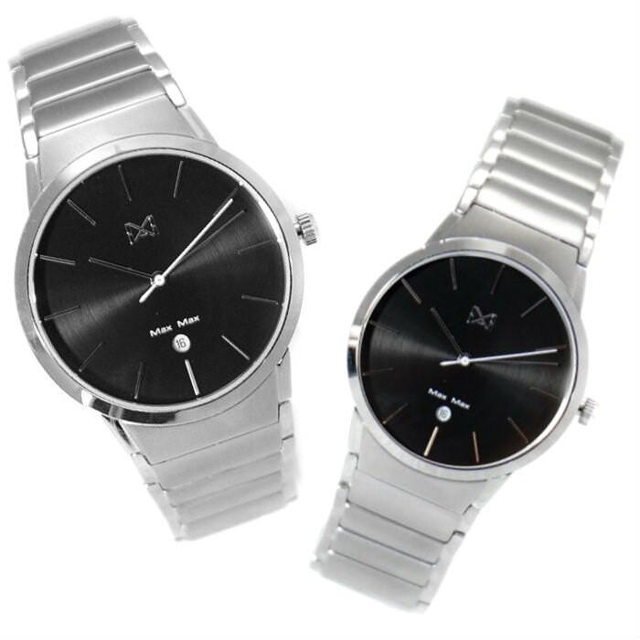 Max Max MAS7023-1+MAS7023-2 簡約時尚鋼帶腕錶 /黑面 40+32mm
