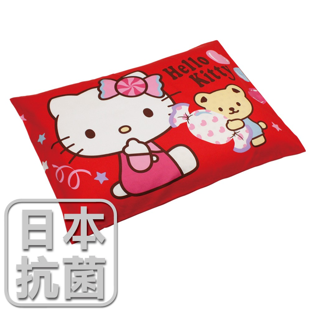 鴻宇 兒童乳膠枕 日本抗菌Hello Kitty我的甜蜜夥伴-坐姿紅 美國棉授權品牌 台灣製
