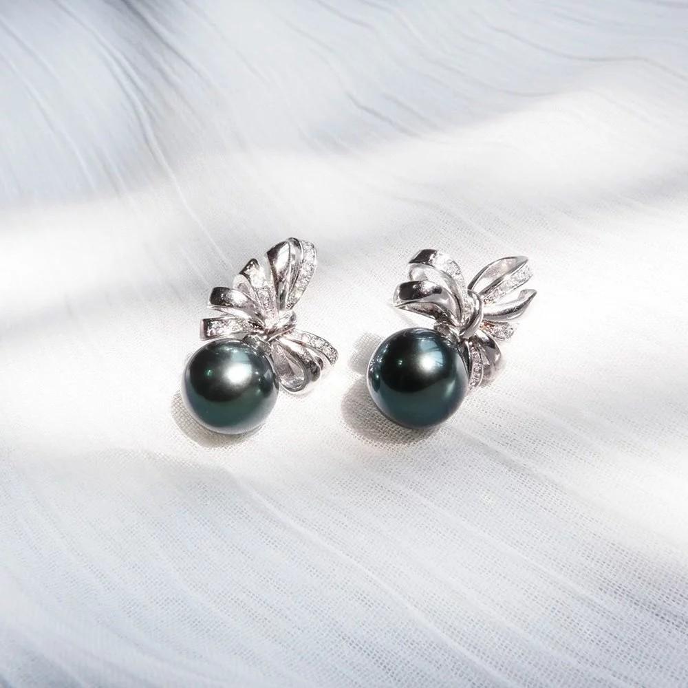俏麗緞帶孔雀綠黑珍珠耳環
