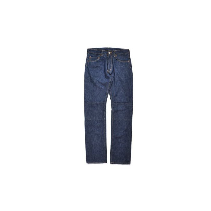 日本The Nerdys Knee Double藍染Indigo膝蓋拼接鳥繡花口袋直筒牛仔褲藍
