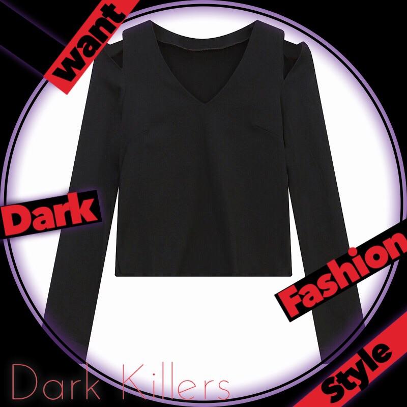 Dark Killers 暗黑系 小性感 V領 彈力 純色 露肩 短款 露腰 長袖 上衣