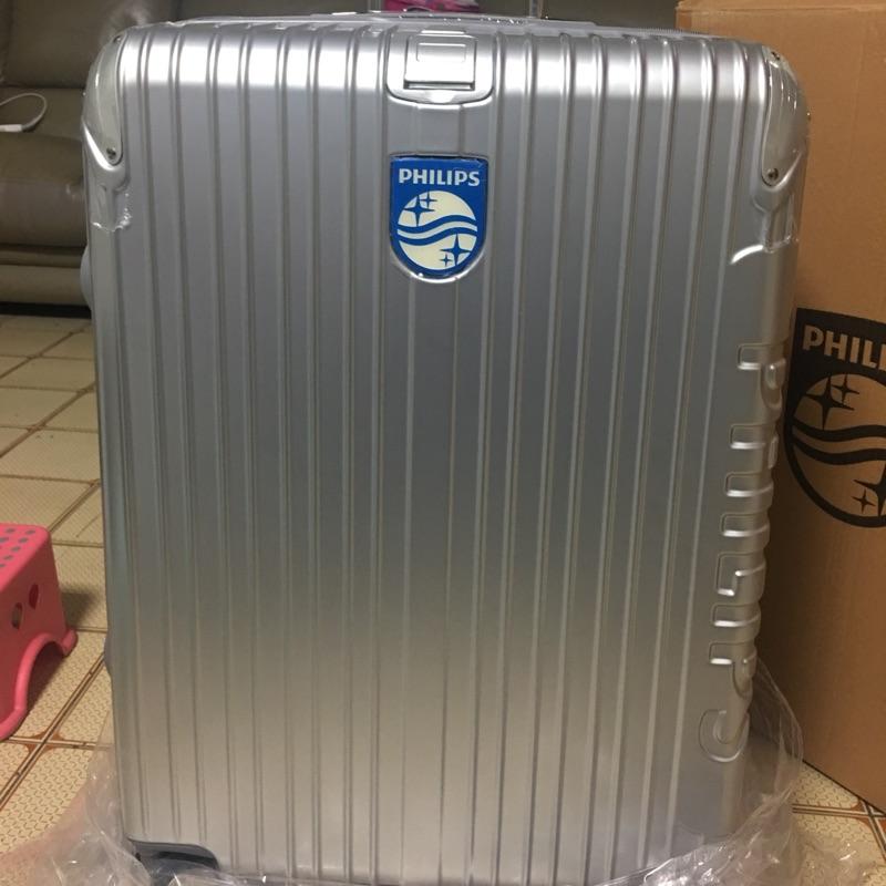 全新半價 PHILIPS 26吋 拉鍊行李箱復古款(白銀)