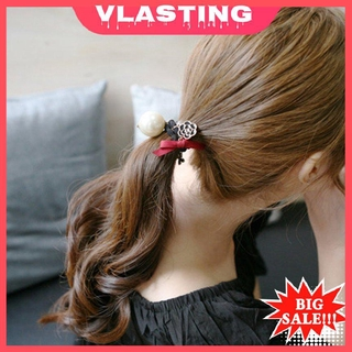VLBIGS !!!珍珠打結的髮圈圓球果凍色頭髮彈力黑頭髮8511