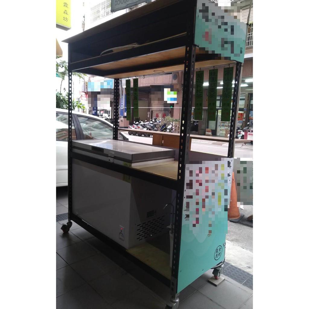九成新,飲料攤車(附冰箱(可冷凍或冷藏)