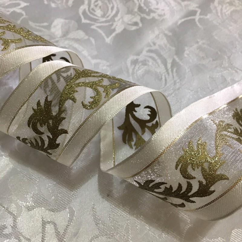 可羅小舖 手工藝材料出清 4公分鹿角蕨立體燙金網紗緞帶 居家裝飾 蝴蝶結