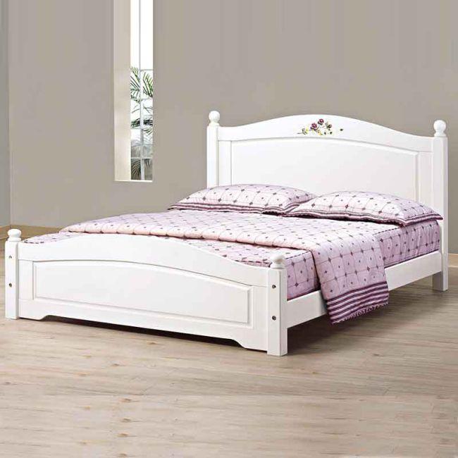 【JB365-2】柏妮斯5尺白色彩會檜木單人床