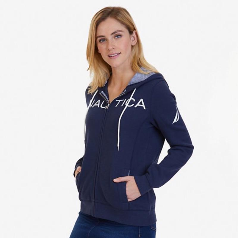 NAUTICA 女logo經典款拉鏈連帽外套