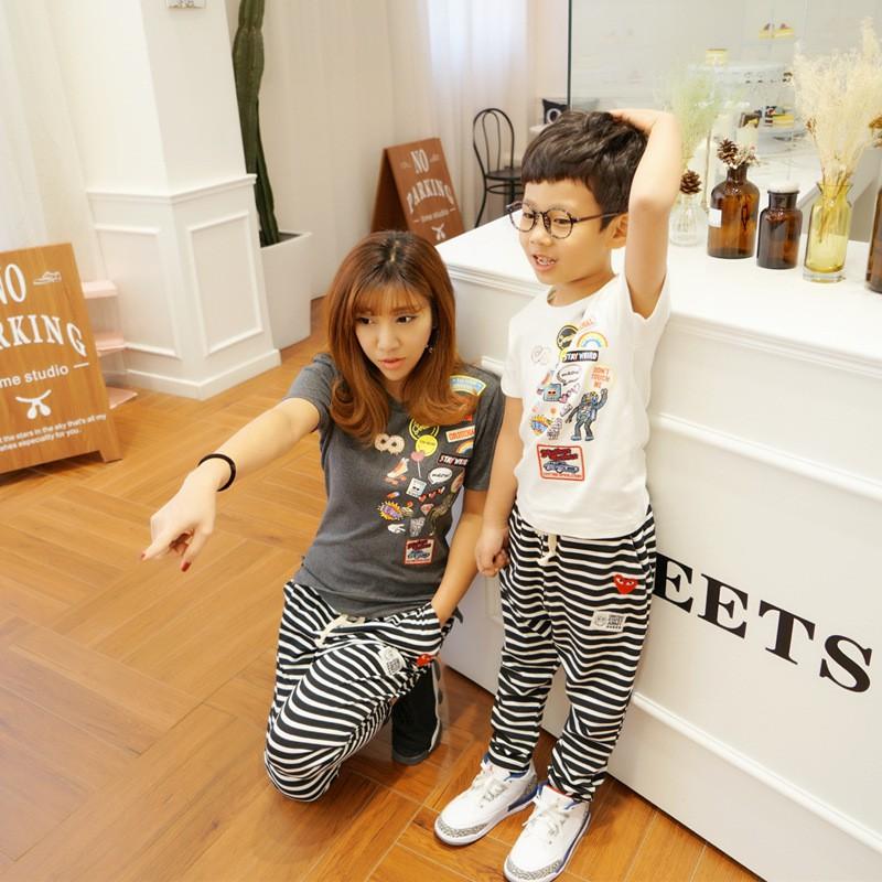 【檸檬baby】韓國親子裝春夏新款童裝夏裝彈力面料涂鴉章仔T恤一件代發