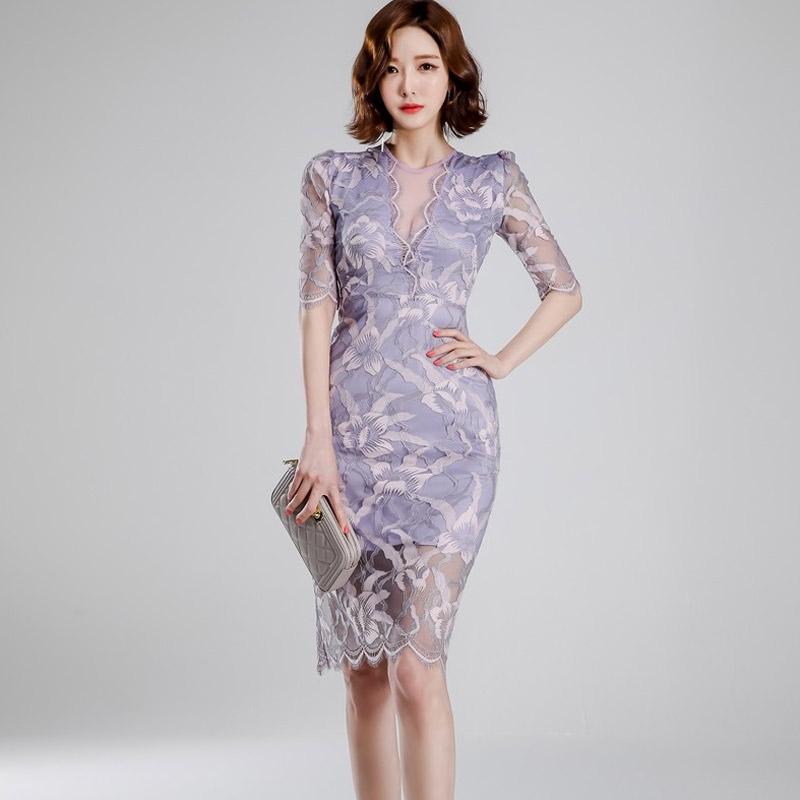 優雅性感透視網紗拼接顯身材合身洋裝及膝窄裙包臀連衣裙正韓女生宴會小禮服