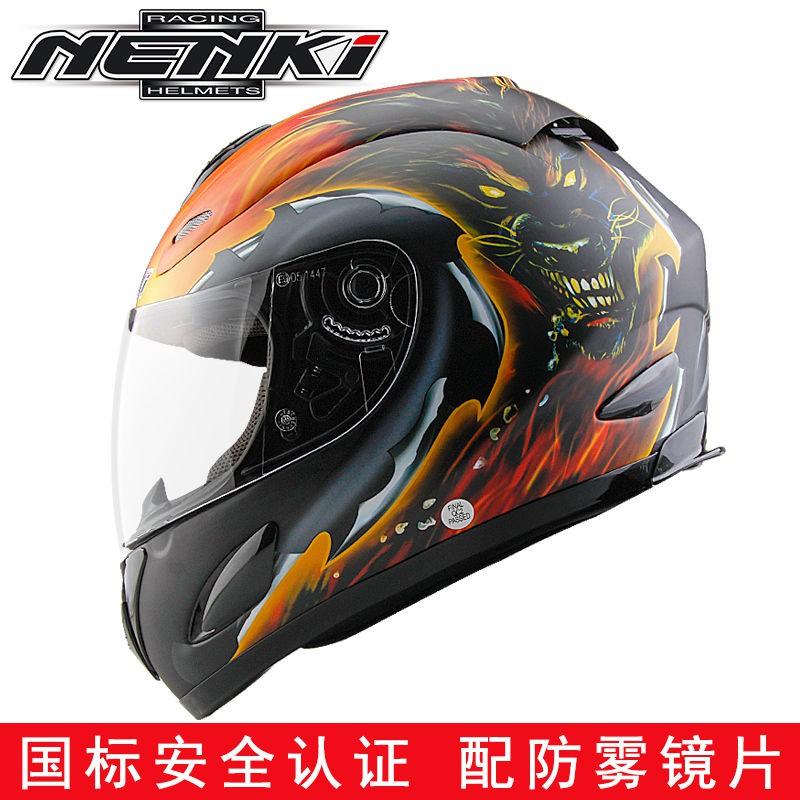現貨 NENKI摩托車頭盔男春季保暖賽車機車跑盔防霧全盔覆式安全帽