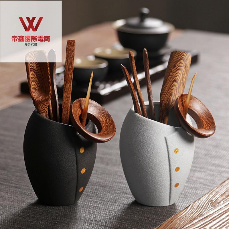 黑陶茶藝茶道六君子套裝 功夫茶具配件茶勺筒 禪意復古黑檀木整套