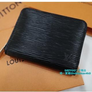 二手精品 Louis Vuitton LV M60152 M60383黑色  EPI 水波紋 拉鍊零錢包 現貨 基隆市