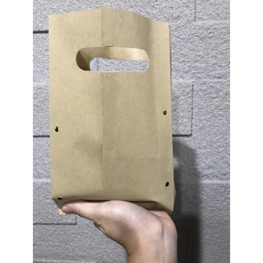 《現貨1500張》牛皮紙袋/防油紙袋/手提紙袋/打洞紙袋/雞蛋糕/紅豆餅/炸物牛皮紙袋/牛皮提袋-防燙手防油手提打洞