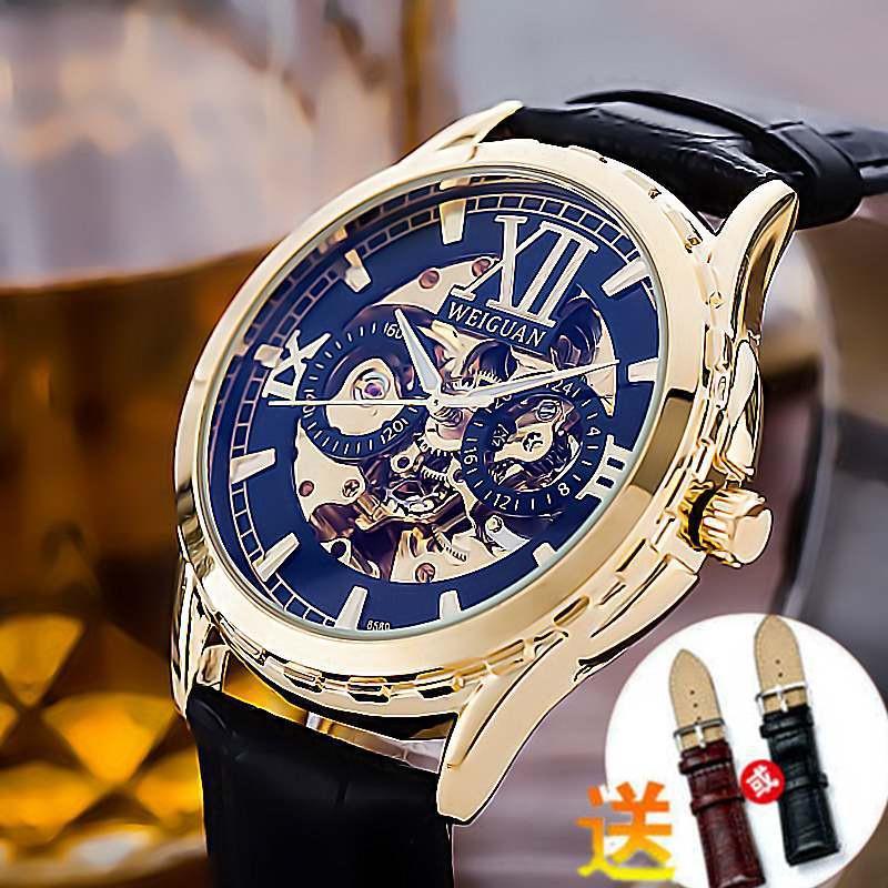全自動機械手錶 WEIGUAN 鏤空陀飛輪手錶男生 男士商務休閒皮帶手錶 防水手錶 禮物