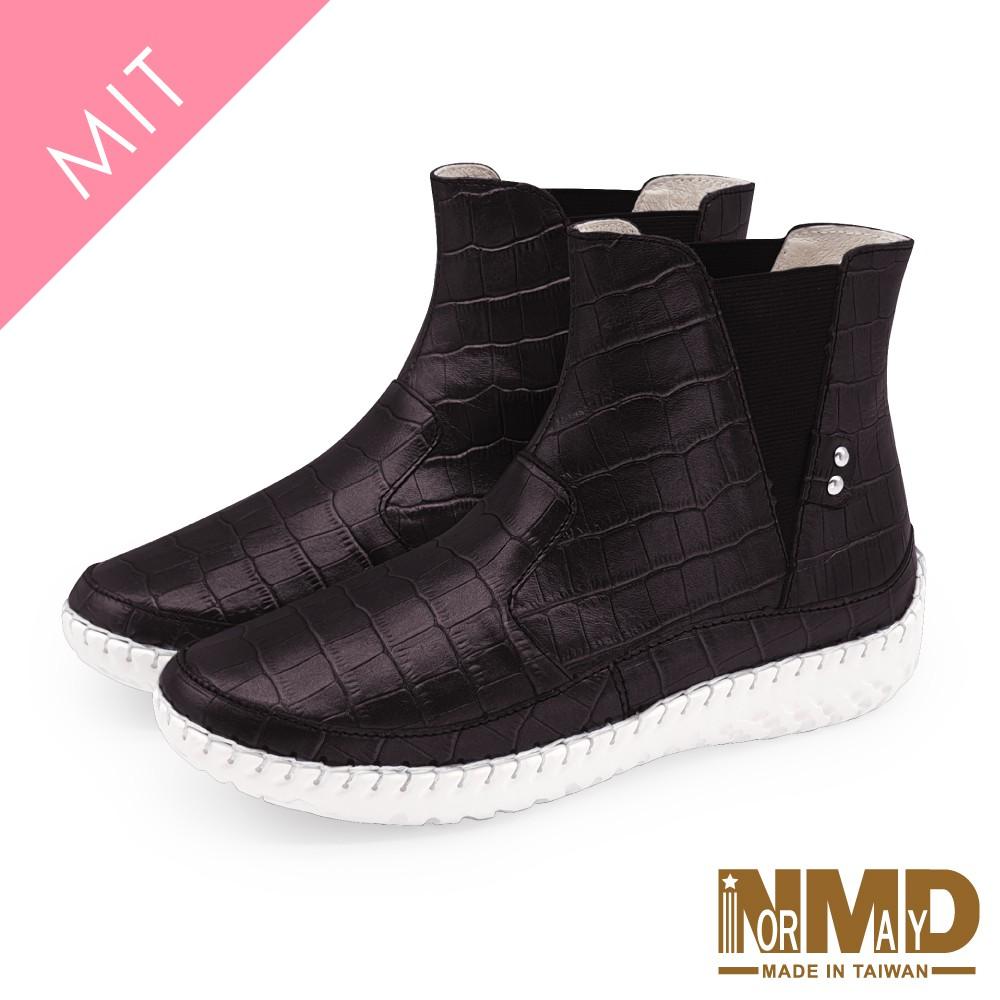 Normady 諾曼地MIT手工鞋 女鞋 短靴 真皮靴 氣墊鞋 經典時尚V型鬆緊高階版磁力厚底內增高球囊短靴(率性咖)