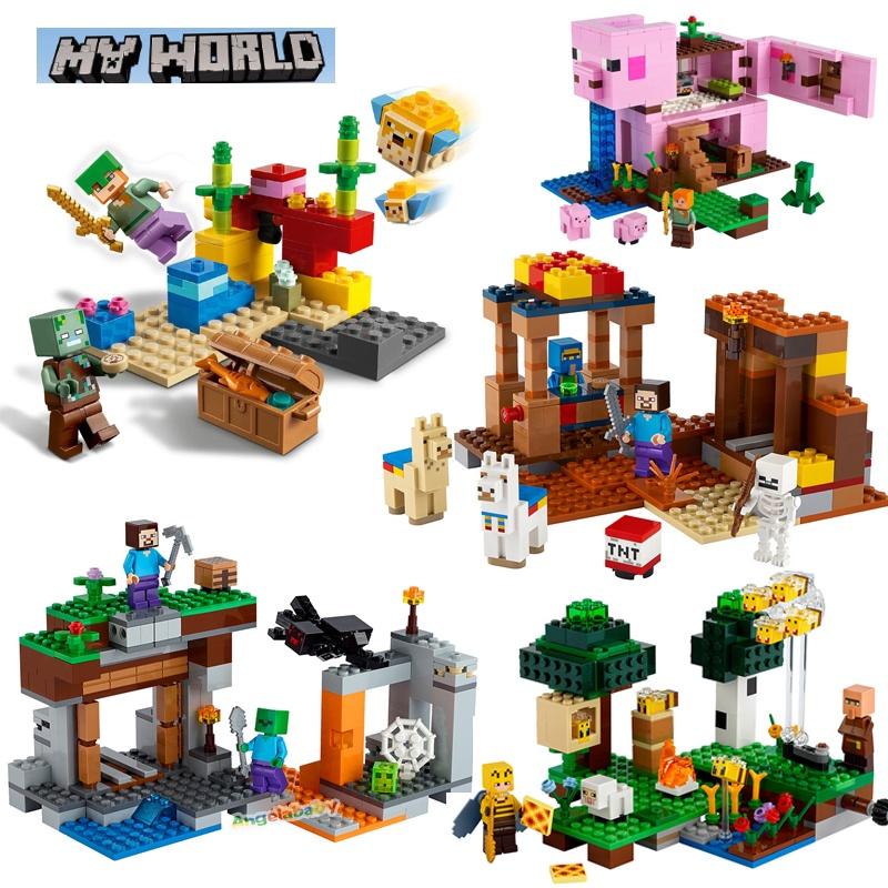 """我的世界蜜蜂農場珊瑚礁""""廢棄""""礦井貿易站豬屋馬樂高玩具21165 21166 21172 21170 21171積木玩具"""