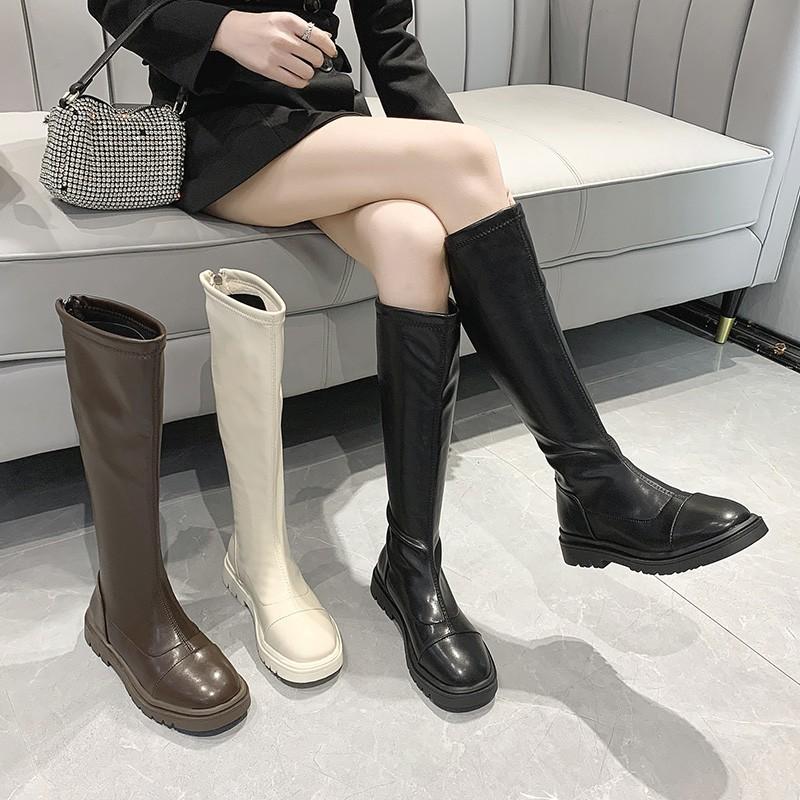 現貨速發✨長筒靴女秋冬款靴子厚底女英倫風不過膝高筒靴長靴騎士靴