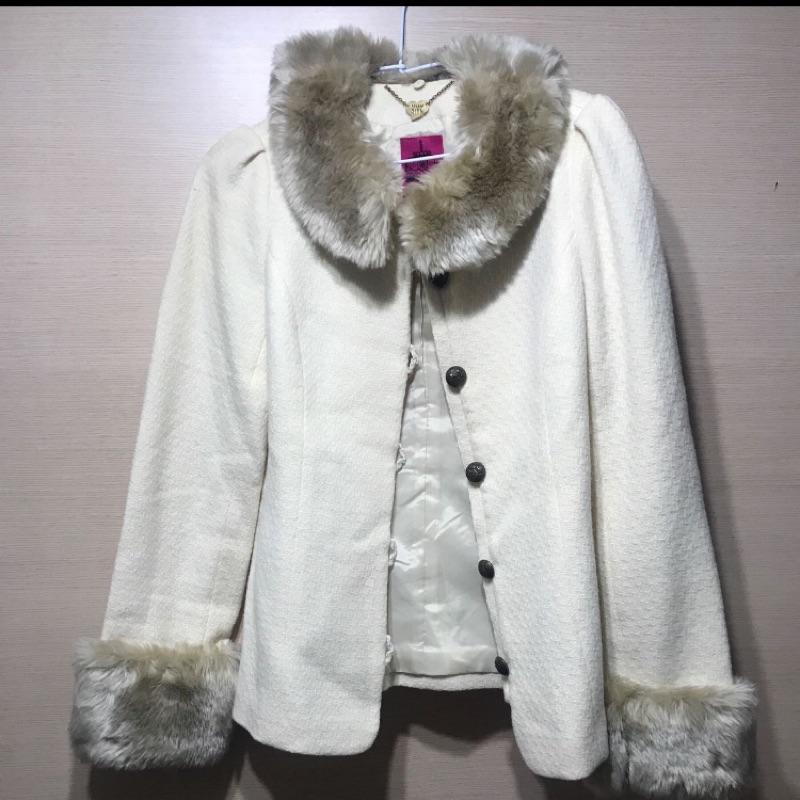 二手私服 Anna sui 安娜蘇 呢絨毛料外套  可拆卸毛邊 日本購入
