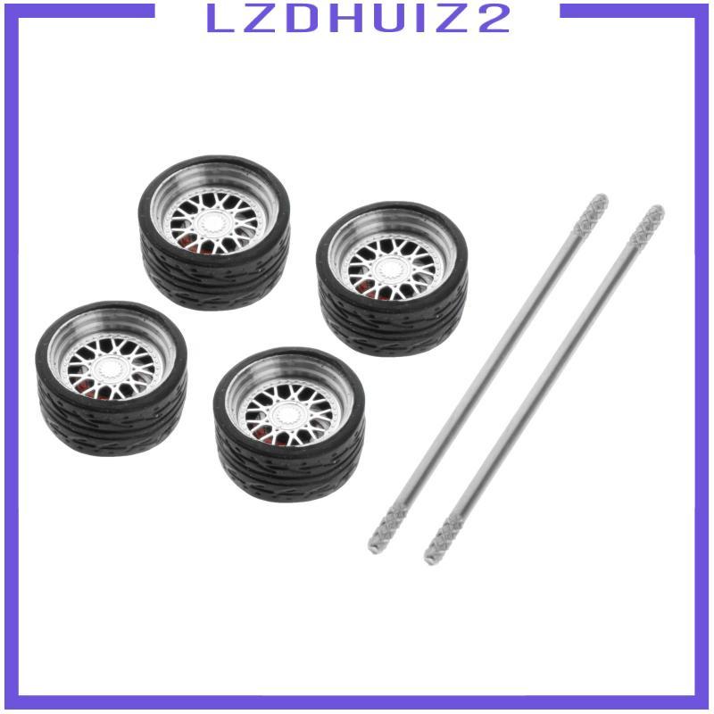 Les Fleurs 4件/套1/64公路模型汽車車輪和輪胎熱車輪備件E1