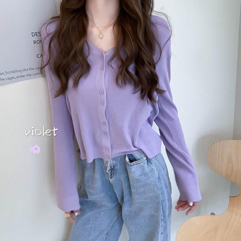 現貨夏季2020新款寬松bm溫柔風V領薄款紫色長袖針織上衣女開衫外套ins