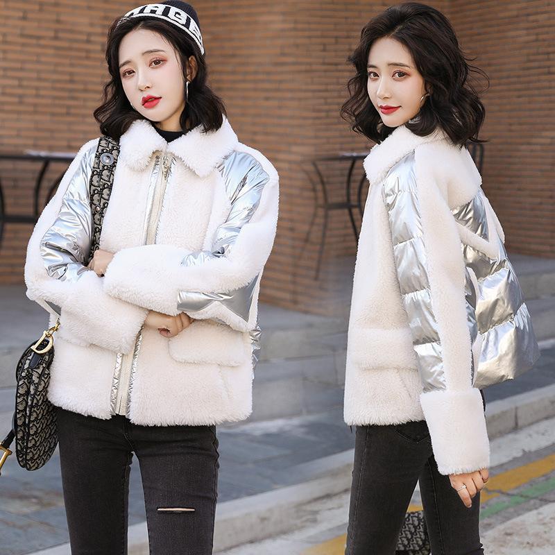 小個子短款棉服 女2021冬季新款寬鬆小棉襖外套 羊羔毛拼接棉衣