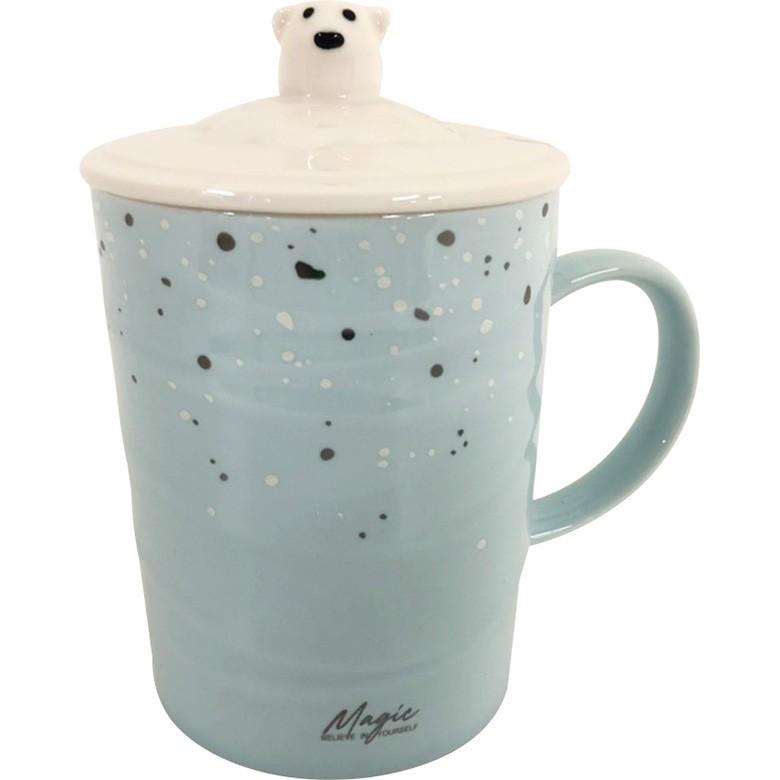 雪熊帶蓋馬克杯 顏色隨機 茶杯 咖啡杯 牛奶杯 水杯(375ml)[大買家]