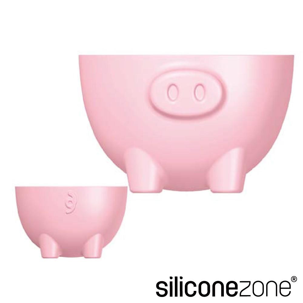 【Siliconezone】高品質食品級 施理康 耐熱粉紅小豬造型烤模杯-2入組