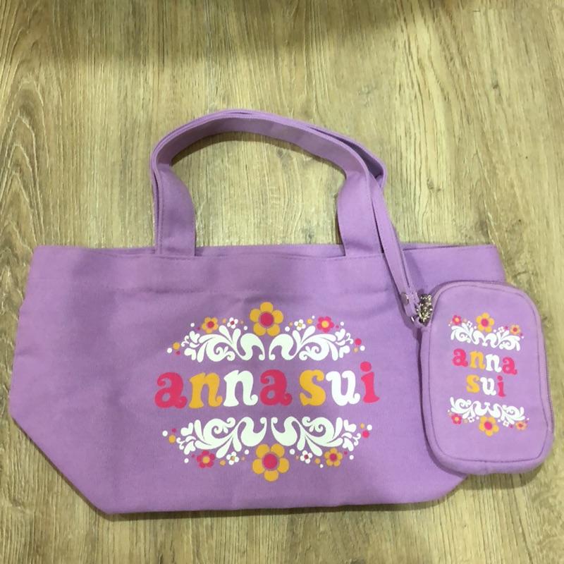 ANNA SUI 粉紫托特包2件組