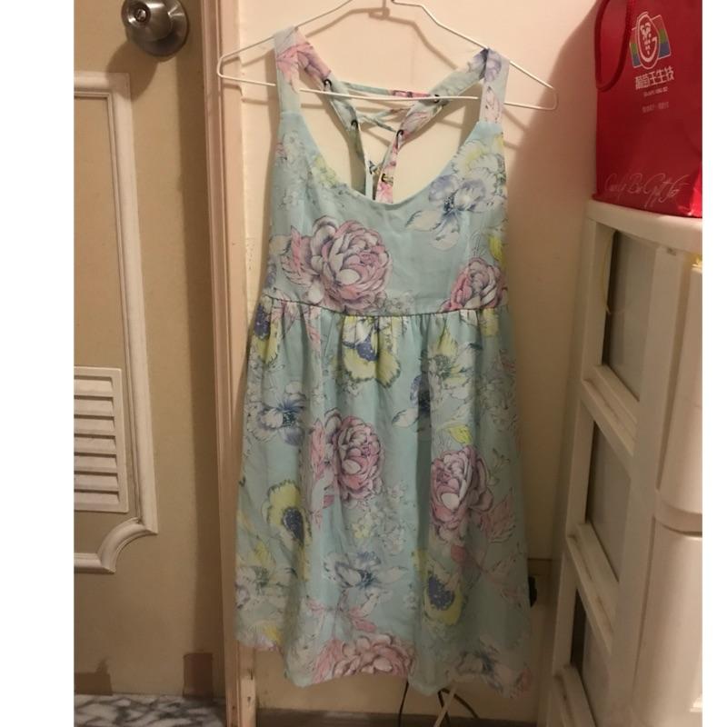 二手水藍色印花洋裝