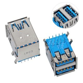 【嘉茂源科技】3.0USB AF雙層高速接口 USB3.0連接器母座90度DIP插腳有卷邊銅殼