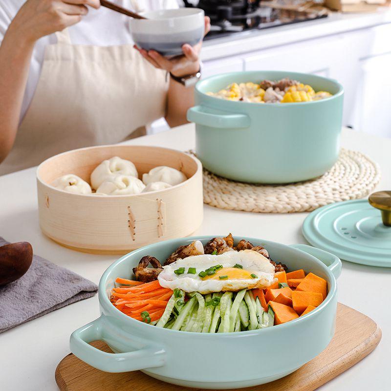 日式砂鍋 新年大促 日式多層蒸籠砂鍋燉鍋家用燃氣陶瓷蒸汽鍋耐高溫煲仔飯沙鍋帶蒸屜