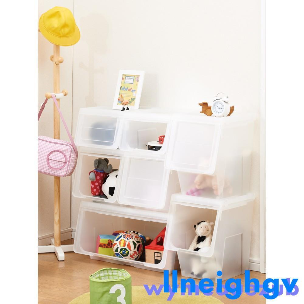 斜口收納箱 抽屜收納柜 收納用品日本天馬11株式會社前開式河馬口收納箱玩具整理箱大號箱子面寬3