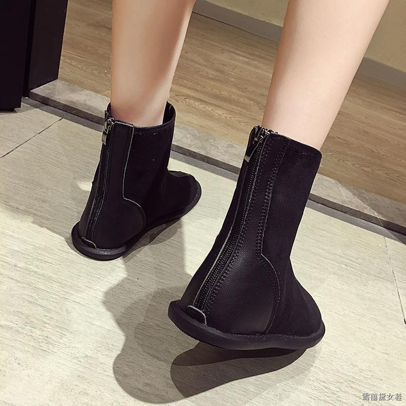 現貨❏✴馬丁靴女2020秋冬平底后拉鏈學生韓版新款瘦瘦短靴子軟底軟面女鞋