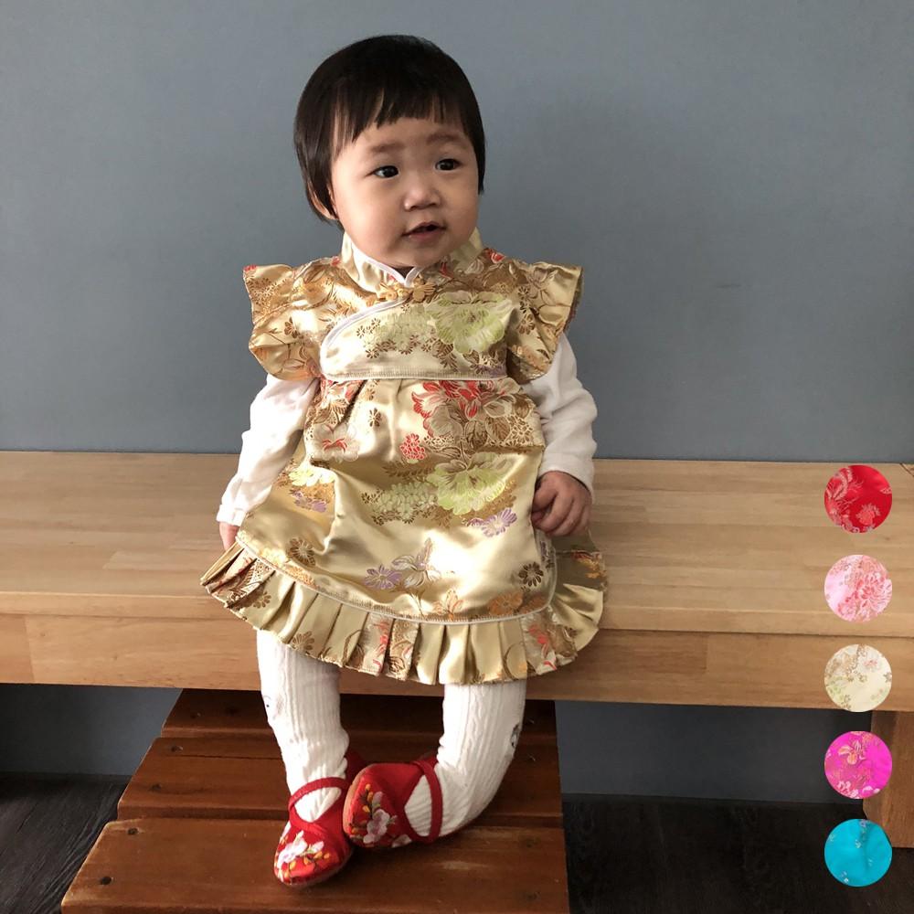牡丹刺繡旗袍洋裝+褲褲 唐裝 寶寶 新年大紅新衣 周歲 中國風童裝 橘魔法 抓周 【p0061168802085】