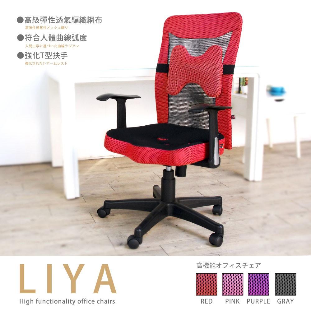 H&D 東稻家居︱莉亞透氣網布高背辦公椅(附腰枕)-4色【ND-02B】