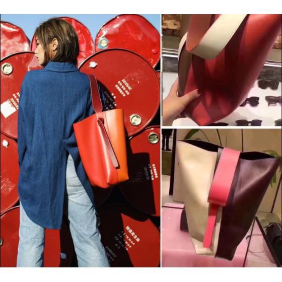 專櫃全新正品Celine Twisted Cabas拼色可調節 手提包 水桶包 肩背包 寬肩帶