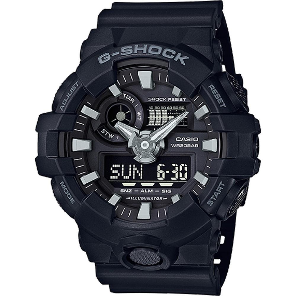 CASIO 卡西歐手錶 G-SHOCK GA-700-1B GA-700系列絕對強悍雙顯腕錶-黑  廠商直送