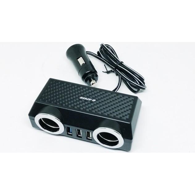 車之嚴選 cars_go 汽車用品【PR-70】碳纖紋 雙USB4.8A+QC3.0+2孔點煙器延長線式電源插座擴充器