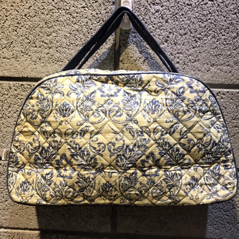 NaRaYa手提拉鍊小行李包大馬士革圖騰藍白色菱格紋經典購於泰國