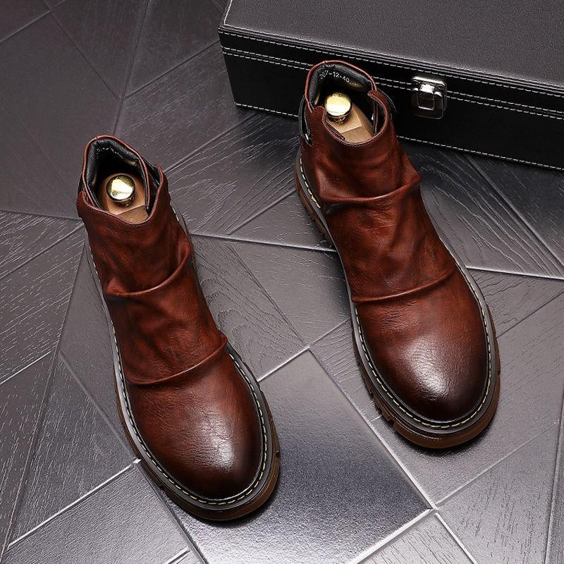 馬丁靴男短靴英倫風復古靴子高幫鞋男士商務切爾西靴百搭休閑男鞋22157