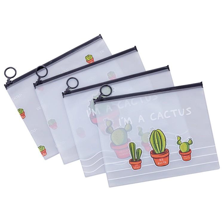 透明磨砂仙人掌收納袋 筆袋 旅行 收納 分類包 防水 防塵 文具 文創 多肉植物 仙人掌 居家