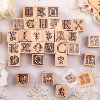 歐洲花園復古花體手帳裝飾素材印畫26個英文字母原創木質印章手賬