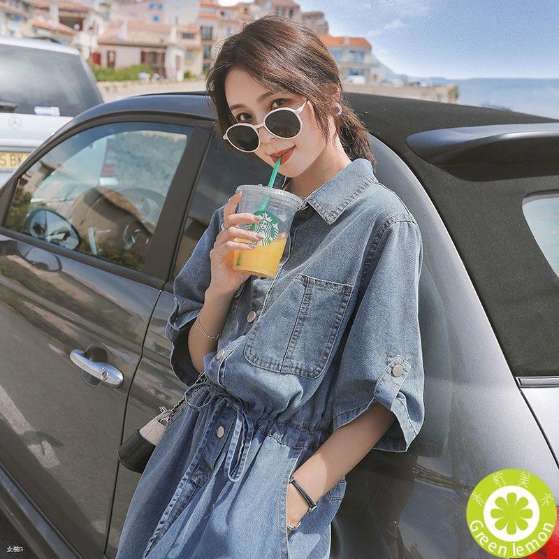 女生短袖洋裝【S~2XL】韓版 寬鬆 牛仔連衣裙 學生 時尚百搭 收腰 長款 氣質 顯瘦 長裙 ins潮 連身裙