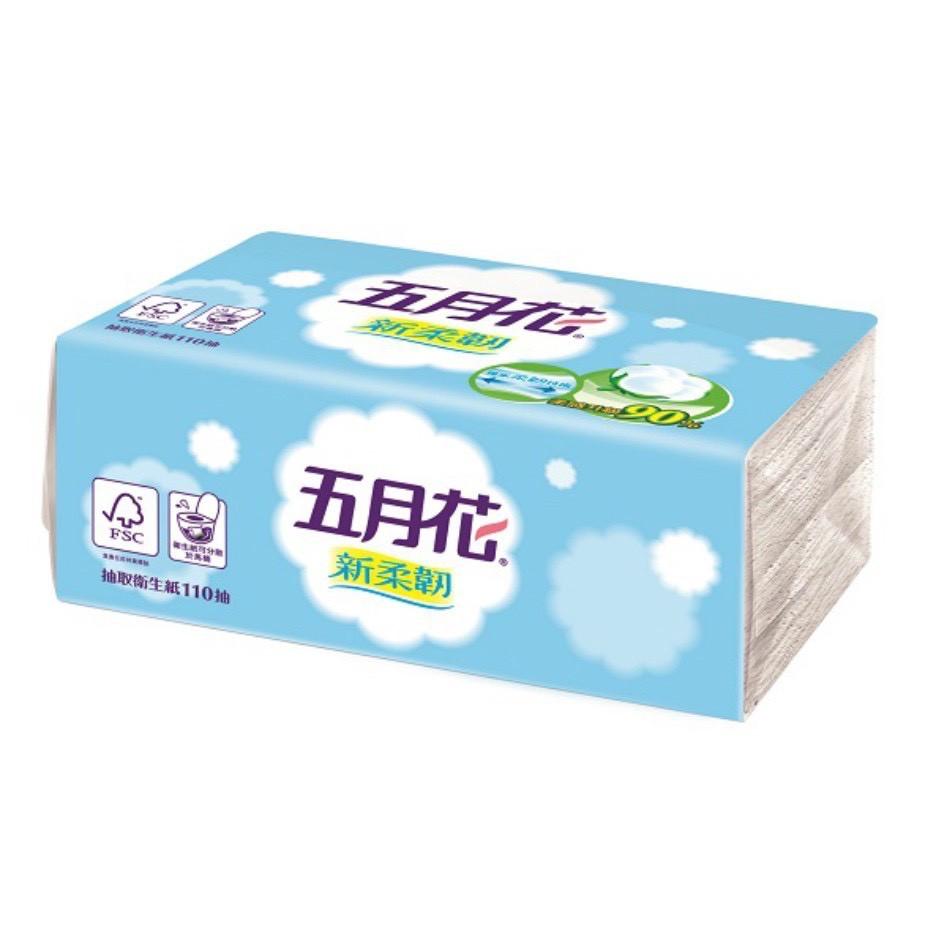 五月花 新柔韌抽取衛生紙 110抽/單包 12包/袋 衛生紙 紙巾 面紙