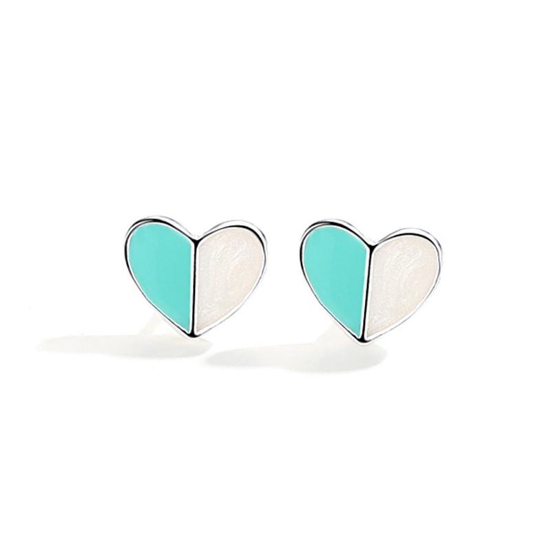 韓版甜美綠拼色愛心耳環【365ME】彩色耳環/小耳釘/耳環/貼耳耳環
