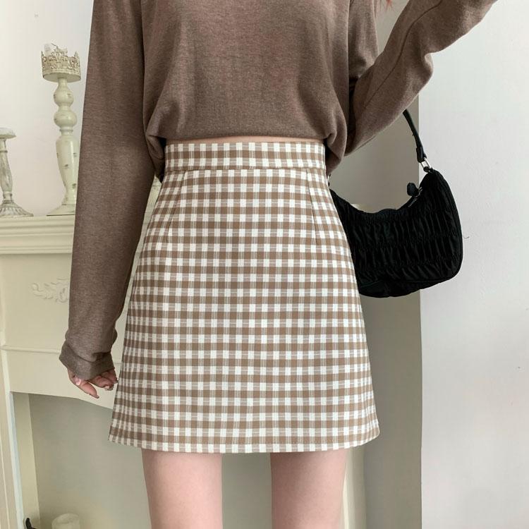 41017 春季新款 高腰顯瘦格子半身裙A字裙短裙