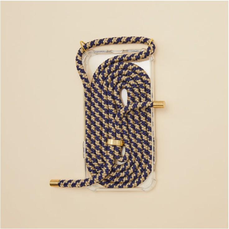 Arno 編繩背帶透明iPhone手機殼_黃金藍 (韓劇同款)