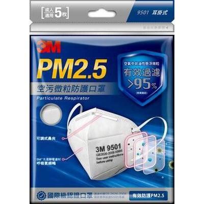 👨🏫*現貨*3M PM2.5 空污微粒防護口罩 9501V 帶閥型 1入 3入/ 包