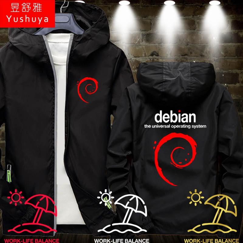 程序員猿創意debian編程linux操作系統開衫外套男女連帽夾克衣服